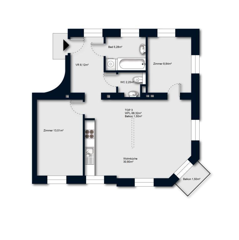 PROVISIONSFREI: lichtdurchflutete 3 Zimmerwohnung mit Balkon /  / 1230Wien / Bild 3