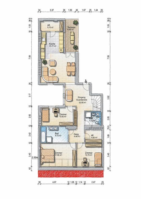 Exklusive DG Wohnung 183 m2 - 5 Zi - Klima - 60 m2 Terrassen /  / 1030Wien, Landstraße / Bild 2