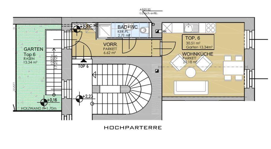 Wunderschöne Singlewohnung mit hofseitiger Terrasse - Erstbezug nach Sanierung