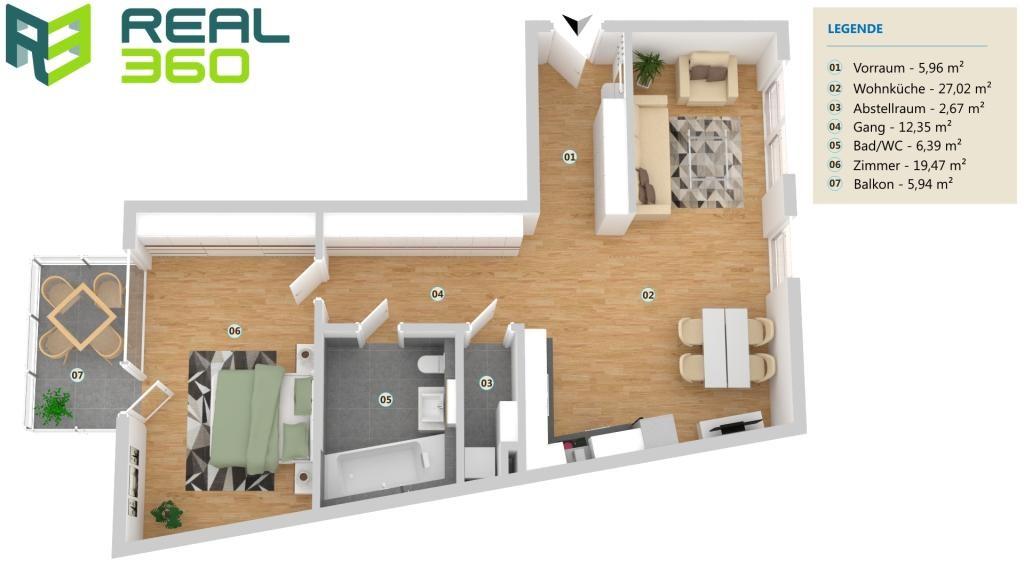 NEUBAU - perfekt aufgeteilte 2-Zimmer Wohnung mit tollem Balkon-  ERSTBEZUG! /  / 4030Linz / Bild 0