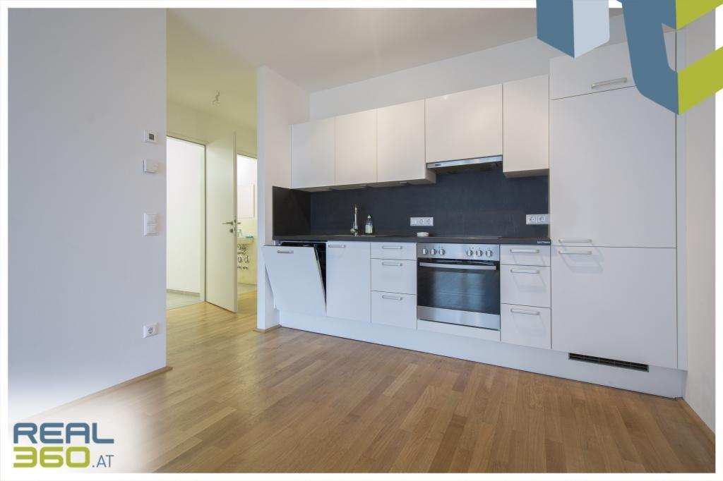 Wohnbereich mit voll ausgestatteter Küche