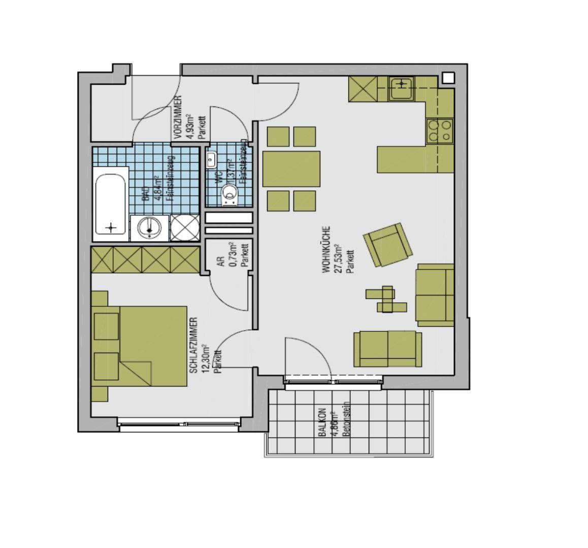 Ruhige, moderne 2-Zimmer-Neubauwohnung mit großem Balkon /  / 1020Wien / Bild 0