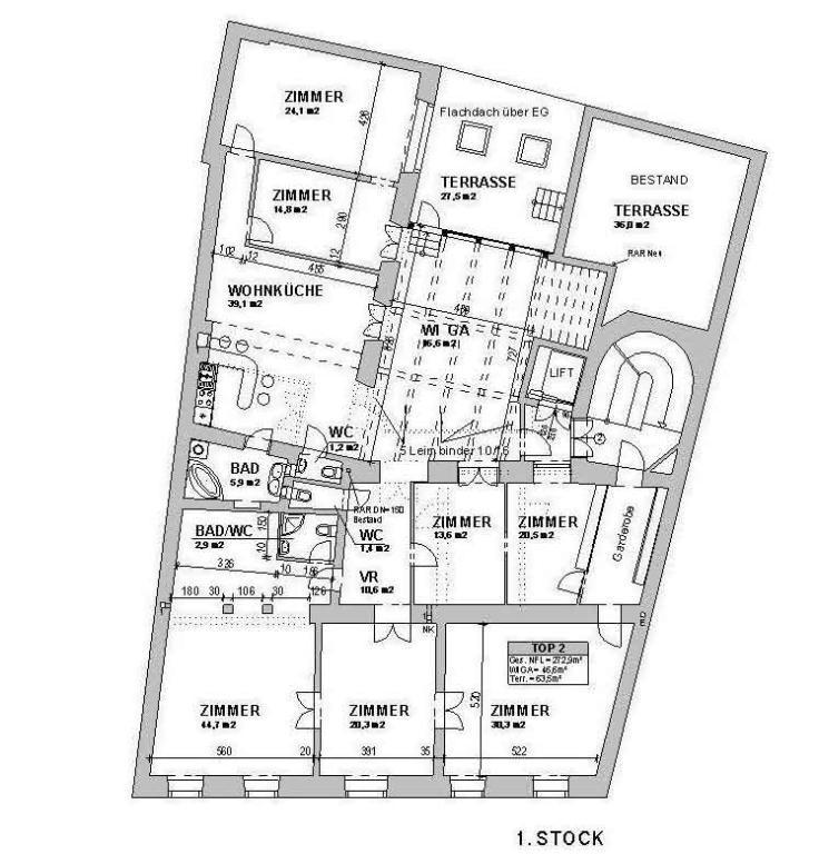 jpgcnt ---- große Altbauwohnung mit Terrasse in den Innenhof /  / 1090Wien / Bild 1