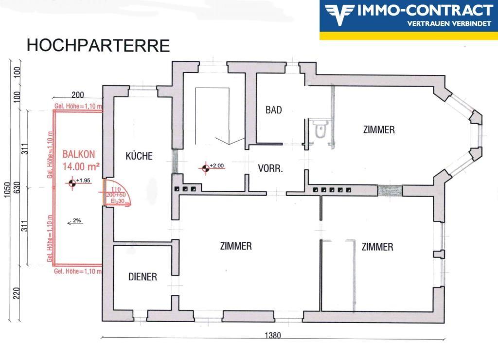 Villenetage mit Balkon und Gartenbenützung Erstbezug nach Renovierung /  / 1130Wien / Bild 2